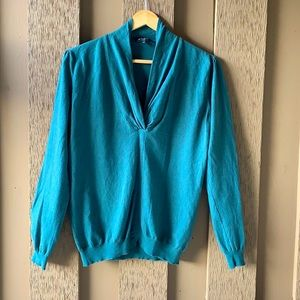 Etro Teal Green High Neck Long Sleeve Sweater
